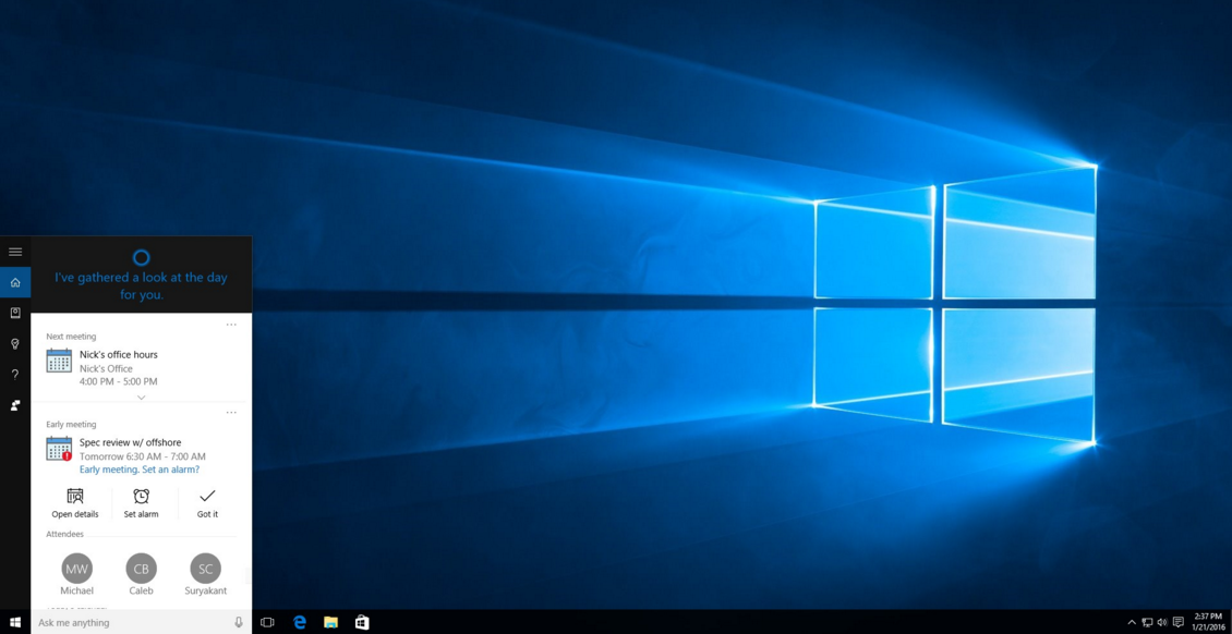 Microsoft Adds Reminder, Calendar Features to Cortana
