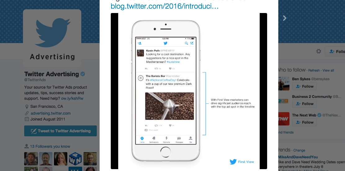 Twitter Announces New 'First View' Video Ads