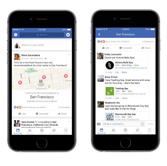 Facebook Launches Recommendations to Find Local Businesses