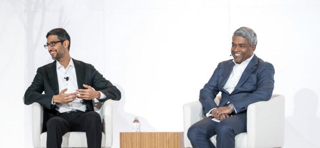 Sundar Pichai and Thomas Kurian - Image Credit: Google