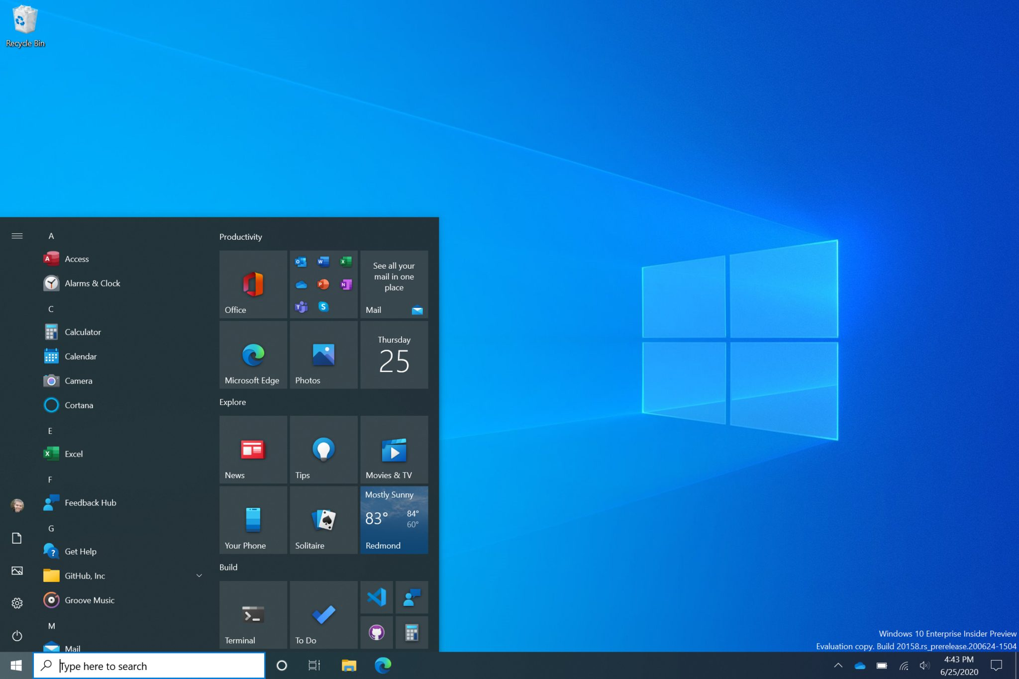 Windows 10 Start Menu Dark Theme - Credit: Microsoft