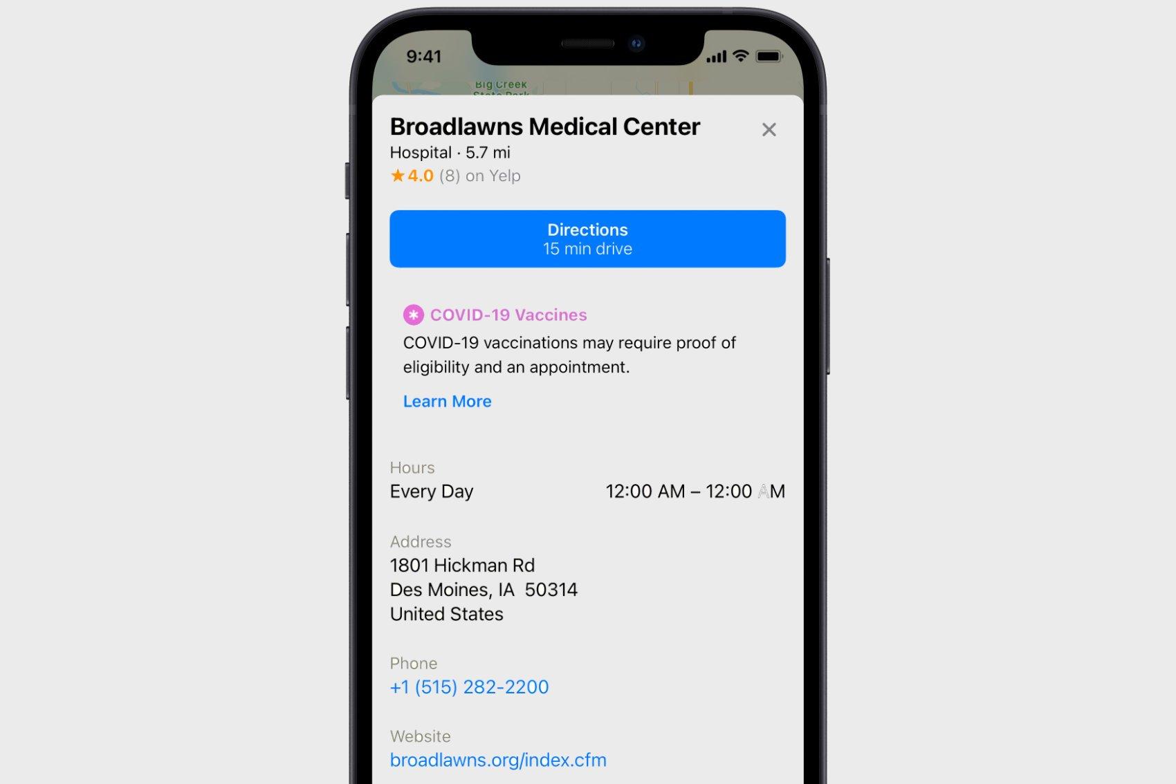 Apple Maps Vaccine Info