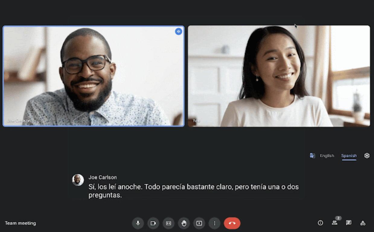 Google Meet Live Translation - Credit Google